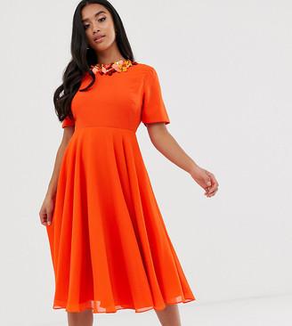 Asos DESIGN Petite crop top embellished neckline midi dress
