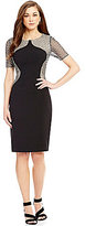 Antonio Melani Margaret Crepe/Sequin Mesh Sheath Dress