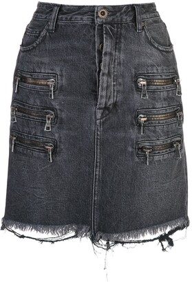 Unravel Project zip-detail distressed denim skirt