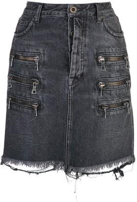 Unravel Project Zip-Detail Distressed Denim Skirt