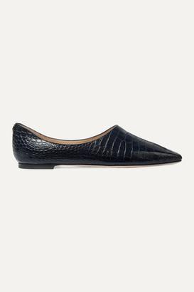Jimmy Choo Joselyn Croc-effect Leather Ballet Flats - Navy