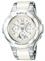 Baby-G Casio Women's BGA-120C-7B1ER Quartz Combi Watch with Off-White Dial Analogue Digital Display and White Stainless Steel Bracelet