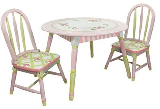 Fantasy Fields Crackled Rose Table & Set of 2 Chairs