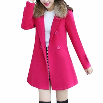 Homebaby Women Coat HOMEBABY Women Warm Jacket Fur Collar Coat Parka Loose Long Open Front Cardigan Hooded Outwear Ladies Winter Thick Slim Long Sleeve Tops Hot Pink