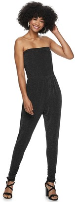 Almost Famous Juniors' Rouch Strapless Jumpsuit