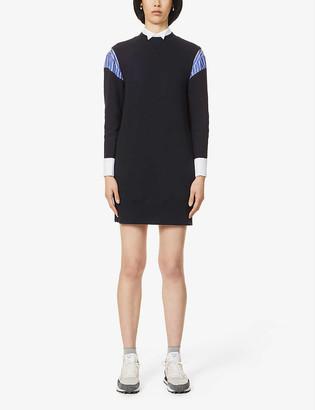 Sacai Shirt-hybrid cotton-blend jersey mini dress