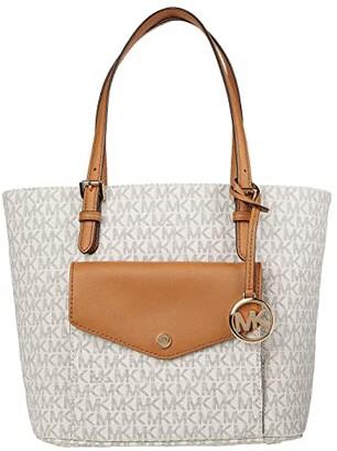 MICHAEL Michael Kors Jet Set Item Medium Pocket Multi Function Tote (Vanilla/Acorn) Handbags