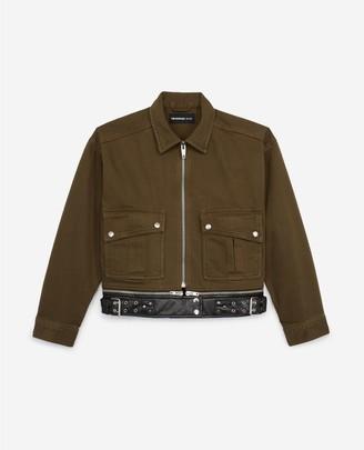 The Kooples Khaki denim jacket with leather-effect belt