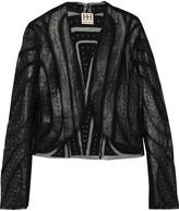 Haute Hippie Mesh-paneled studded leather jacket