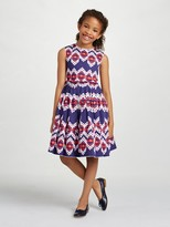 Oscar de la Renta Ikat Cotton Gathered Skirt Party Dress