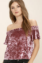 LuLu*s Ritual Mauve Pink Velvet Off-the-Shoulder Top