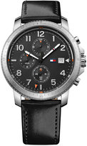 Tommy Hilfiger Men's Casual Sport Black Leather Strap Watch 44mm 1791364