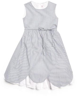Il Gufo Scallop-Hem Stripe Dress