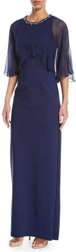 Rickie Freeman For Teri Jon Sheer Capelet Gown w/ Embellished Collar