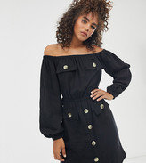 Asos Tall DESIGN Tall off shoulder utility mini dress with pocket detail