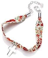 Valentina Poppy Patterned Liberty Cross Cuff Bracelet of 18-22cm