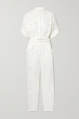 Zimmermann Super Eight Belted Linen Jumpsuit - White