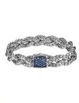 John Hardy Classic Chain Small Braided Silver Bracelet, Blue Sapphire