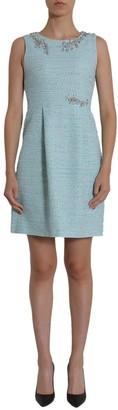 Moschino Embellished Neckline Tweed Dress