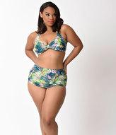 Esther Williams Plus Size Retro Style Green Paradiso Swim Bottom