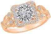Houston Diamond District 0.85 Carat t.w. Platinum Round Floral Vintage Milgrain Diamond Engagement Ring I1