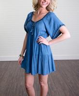 Blue Keyhole Swing Dress