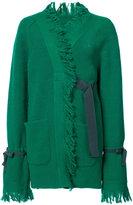 Sacai fringed asymmetric cardigan - women - Cupro/Wool - 1