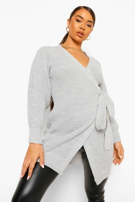 boohoo Balloon Sleeve Wrap Maxi Cardigan