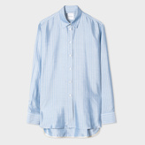 Paul Smith Women's Blue And White Stripe Silk Shirt
