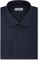 Calvin Klein Men's STEEL Big & Tall Classic/Regular Fit Non-Iron Performance Navy Print Dress Shirt