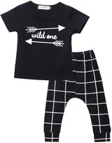 Moore Infant Baby Boy Wild One Printed Tops + Striped Pants Outfots Set Kids Clothes (12-18 Months)