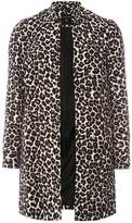 Leopard Print Notch Neck Coat