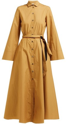 Marios Schwab On The Island By Ikaria Flared Cotton Shirtdress - Womens - Khaki