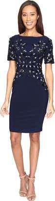 Adrianna Papell Women's Short Sleeve Jersey Beaded Cocktail Dress
