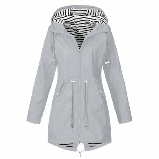 Leedy Clothing Womens Coats and Jackets Sale New Casual Solid Rain Jacket Outdoor Plus Size Waterproof Hooded Windproof Loose Coat Gray