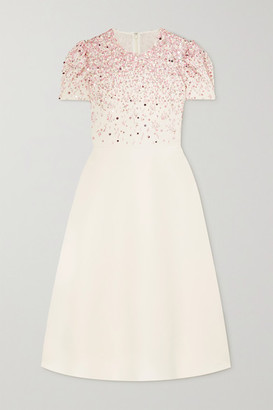 Valentino Embellished Wool And Silk-blend Crepe Dress - White