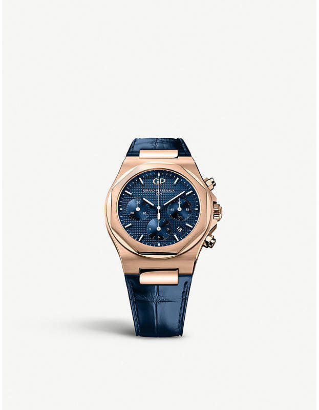 Girard Perregaux Girard-Perregaux 81020-52-432-bb4a Laureato 18ct rose-gold and alligator leather bracelet chronograph watch