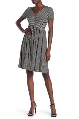 WEST KEI Knit Stripe Print Boyfriend Short Dress