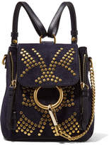 Chloé Faye Mini Studded Suede And Leather Backpack - Navy