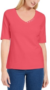 Karen Scott Petite Button-Detail V-Neck Top, Created for Macy's