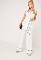 Missguided Pyjama Style Wide Leg Trousers White