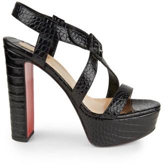 Christian Louboutin Selima Alta Croc-Embossed Leather Platform Sandals