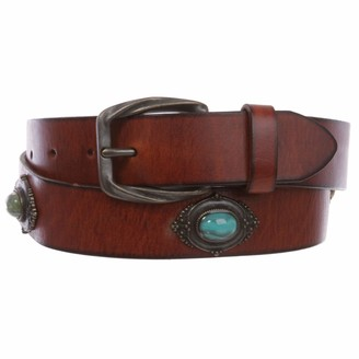 "Beltiscool 1 1/4"" Women's Western Antique Copper Concho Turquoise Stone Studded Leather Belt"