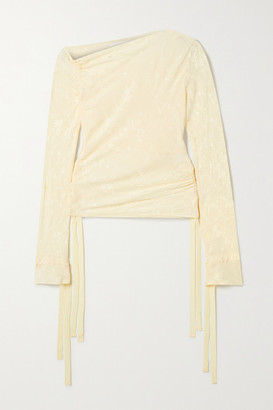 The Line By K Kace Off-the-shoulder Ruched Satin-jacquard Top - Cream
