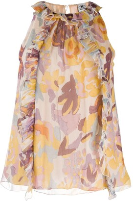 M Missoni Floral Print Sleeveless Blouse