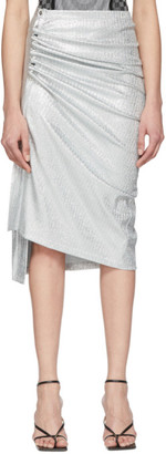 Paco Rabanne Silver Jersey Gathered Skirt
