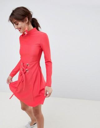 Asos Design Premium Rib Mini Skater Dress With High Neck And Corset Waist-Red