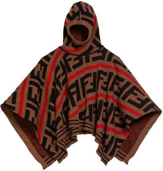 Fendi Girl's FF Knit Hooded Cape, Size S-L