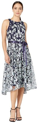 Tahari ASL Petite Flare Skirt Party Dress (Navy Mint Floral) Women's Dress