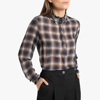La Redoute Collections Checked High-Neck Blouse with Ruffles and Long Sleeves